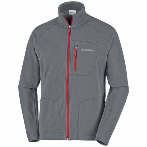 mens columbia fast trek ii full zip fleece warm graphite mountain red navy