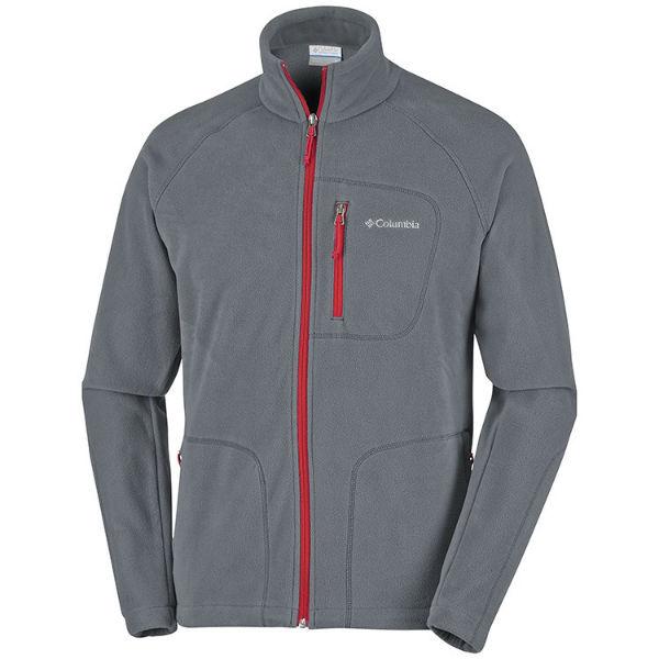 mens columbia fast trek ii full zip fleece warm graphite mountain red navy