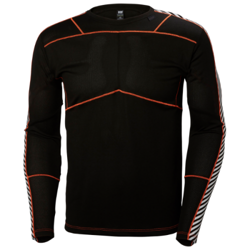 men's helly hansen hh lifa crew baselayer active warm dry insulated lightwieght black/neor
