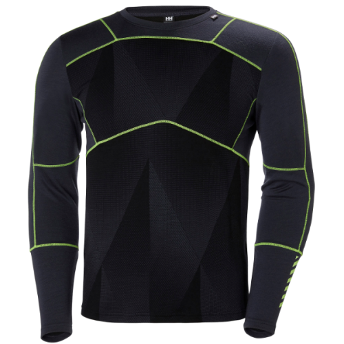 mens helly hansen hh lifa merino crew baselayer graphite blue grey yellow warm insulated wicking