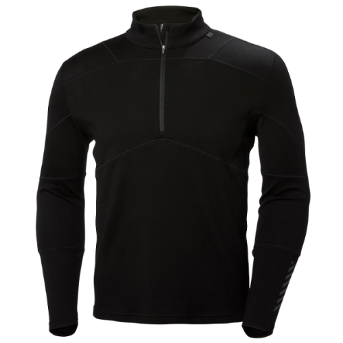 mens helly hansen hh lifa merino max 1/2 zip baselayer warm insulated wicking black