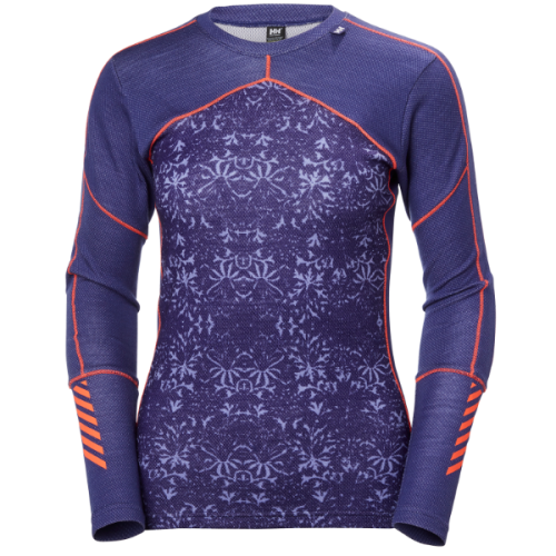 womens helly hansen hh lifa merino crew baselayer warm insulated wicking lavender purple