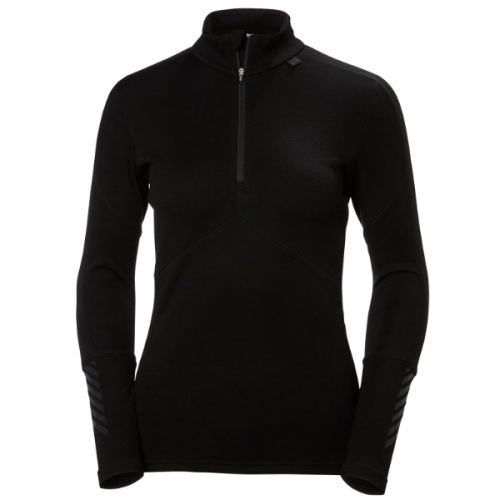 womens helly hansen hh lifa merino 1/2 zip baselayer warm insulated wicking black