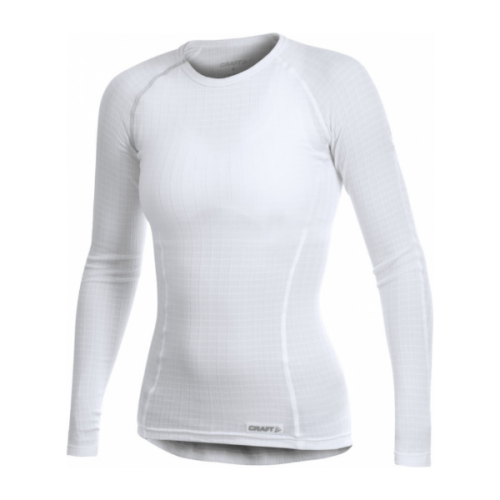 women's craft active extreme round neck long sleeve base layer running top white