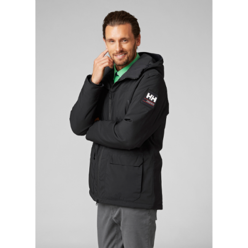 men's helly hansen shoreline parka jacket warm insulated primaloft wateprooof black